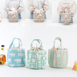 Wholesale Thermal Lunch Bags Wholesale - Portable Bear Flamingo Insulated Drawing String Lunch Bag Cartoon Animal Picnic Pouch Bag Thermal Food Lunch Box Bag 6 Styles OOA4570