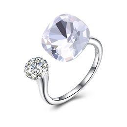 Los cristales provienen de los elementos de swarovski de la personalidad con incrustaciones de diamantes y anillos abiertos de plata de ley SVR394 desde fabricantes