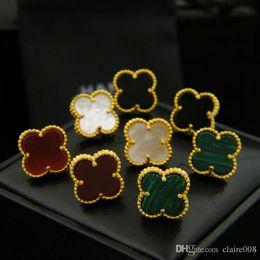 Fleur de coquillage noir en Ligne-JewelryStore999 acier inoxydable naturel noir et blanc shell agate quatre feuilles fleur unique oreille studs 18K or stud pour femme bijoux