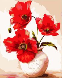 figura de la señora Rebajas 16x20 '' DIY flores pintura por números kits arte abstracto acrílico pintura al óleo sobre lienzo para adultos niños brillantes amapolas en botella