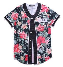 Hermoso gráfico online-Camiseta de béisbol Harajuku 3D Print Beautiful Flowers Graphic Jersey Tops Hip Hop de manga corta Cardigan camiseta fresca ropa barata