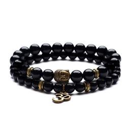 Bracelets d'images en Ligne-6 bracelet de yoga de guérison de 8 mm avec pierre naturelle, bracelet avec une ancienne tête de Bouddha