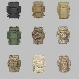 Wholesale Large Military Backpacks - 65L Large Capacity Men Trekking Backpack Military Backpack Waterproof Nylon Backpacks Men's Military Waterproof Travel Bag LJJD16