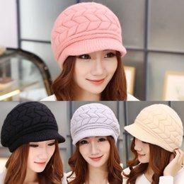 Wholesale Free Decks - New Fashion Women Winter Warm woolen Skull Cap Double-deck Stingy Brim Hat Peak Cap Head wear Knitted Crochet Hat