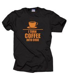 Programador de la camiseta Programación Convierto el café en código Camiseta de la camiseta Funny HTMLMens 2018 fashion Brand T Shirt O-cuello 100% algodón Camiseta desde fabricantes