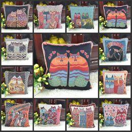 Tela de gatito online-Kitty Jacquard Cloth Cojín de estilo étnico Funda Sofá Funda de almohada Tejido de color Multi funda de almohada suave 12pf gg