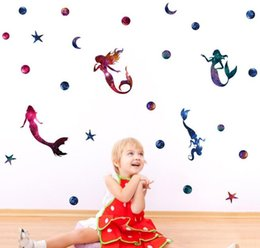 wall stickers mermaids Coupons - Mermaid Wall Sticker Starry Sky Mermaid Wall Stickers DIY Creative Room Decoration Children Room Decal Kids