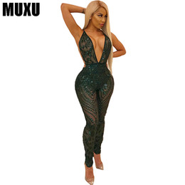 green body glitter Coupons - fashion summer Sleeveless backless sequin patchwork glitter green long jumpsuit sexy transparent body feminino bodysuit women
