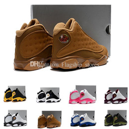 Wholesale Cream Girl Shoes - Wheat 13 kids basketball shoes 13s black cat bordeaux love respect black white XIII sneakers boy girl children eur28-35