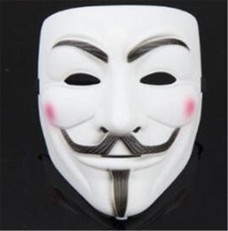Wholesale anonymous face mask - New V Word Vendetta Mask Guy Fox Halloween Costume Clothing White Anonymous Mask Fast Free Shopping