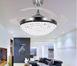 Wholesale chrome housing - Crystal LED Ceiling Fans Light 42 Inch Mordern Fan Chandelier Ceiling Light with Remote Control for Indoor Living Dining Room Bedroom House