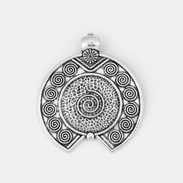 antique jewellery pendants Promo Codes - 1pcs Antique Silver Large Charms Pendant Hammered DIY Jewellery Making Finding