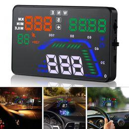 2019 televisores do painel do carro Freeshipping Universal Q7 5.5 Polegada Auto Carro Digital HUD GPS Head Up Display Velocímetros Excesso de Velocidade Aviso Dashboard Windshield Projetor