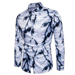 Wholesale white silk blouse xs - Tuxedo Wear Fashion Men Long Sleeve Floral Printed Silk Breathable Shirts,Slim Fit Personality Ink Painting Shirts Blouses