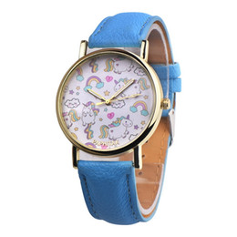 Wholesale Cartoon Watches For Women - OKTIME Lovely Unicorn Watches Women Cartoon Quartz Watch Simple Casual Leather Wrist Watch For Women Sweet Hours Reloj Mujer