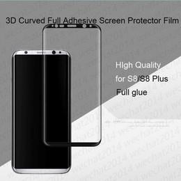galaxy note full body Rebajas 50PCS 3D Full Glue Curved Full Body Protector de Pantalla de Cristal Templado para Samsung Galaxy S8 S9 Plus Note 8 9
