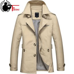 Wholesale trench style dresses - Trench Coat Male 2017 Cotton Business European British Style Dress Slim Fit Mid Long Wind Overcoat Autumn Men Windbreaker Jacket