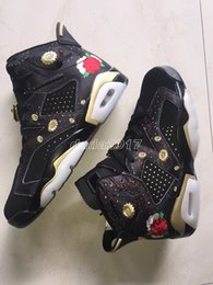Wholesale Woman Chinese Shoes - 2018 CNY Men Women High Quality Basketball shoes New 6 black Chinese New Year sport sneaker us size 5.5-13