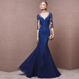 DH265 Mezza manica in pizzo blu lunghi vestiti cheongsam alla moda coda di  sirena stile cinese abito da sera abiti da festa abiti da sposa 659efb22678