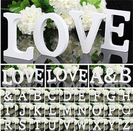 Wholesale White Wooden Letters - 1pcs 10.5*10*1.2cm Home Decor Decoration Thick Wooden White Letters Alphabet For Wedding Birthday Party Props Hot Sale 1 2zn Z
