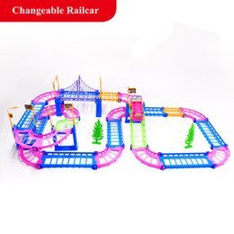 Wholesale Electric Car Toy Baby - Electric Racing rail car kids train track model toy baby Railway Track Racing Road Transportation Building Slot Sets