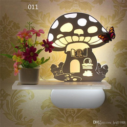 Wholesale Lighted Bonsai - Bonsai potted garden wind aisle led wall lamp bedside decorative night lights Indoor Lighting thin acrylic wall light