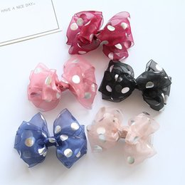 Wholesale Kawaii Bows - Boutique 20pcs Fashion Cute Polka Dot Gauze Bow Hairpins Solid Kawaii Bowknot Hair Clips Princess Headware Accessories