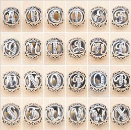 Wholesale Pandora Alphabet - 26 English Letters Sterling Silver Bead Original Alphabet Beads Fit Pandora Charm Beads Bracelet 925 Silver Jewelry DIY