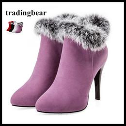 Zapatos de boda de invierno de piel online-Botas de piel de lujo de color púrpura botas de tobillo de invierno para el banquete de boda más el tamaño 33 34 a 40 41 42 43 44 45 Mujeres Zapatos de tacón alto 4 colores