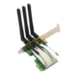 Mini pci e adattatore wireless online-Freeshipping Hot New Mini PCI-E scheda PCI-E Express X1 Wireless WIFI con 3 antenne