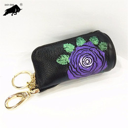 cowhide purses wholesale Coupons - ZYD-COOL Women Cowhide Famous Brand Car Keys Holder Genuine Leather Coin Purse Flowers Keys Case chain Top Sale Housekeeper