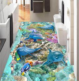 2019 murais de parede de pesca 3 d piso pvc personalizado foto papel de parede adesivo de parede mar golfinho coral fish home decor 3d murais de parede papel de parede para paredes 3 d murais de parede de pesca barato