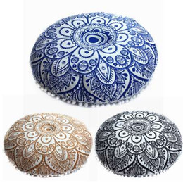 Cubiertas de asientos redondas online-Indian Mandala Floor Cushion Cover 70cm Round Throw Pillow Case Bohemia Home Cojines decorativos para sofá Funda de cojín del asiento