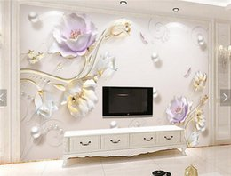 Wallpaper de la sala de tv flor online-3D en relieve Tulip Flower Photo Wallpaper Mural para la sala de estar Sofá TV de fondo Wall Art Decor papier peint Wall Paper Murales