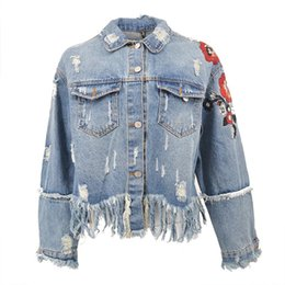 Wholesale Tassel Breast - 2018 Flower Embroidery Denim Jacket Coat Women Vintage Autumn Tassels Basic Jackets 2018 Casual Ripped Jean Jacket Outerwear