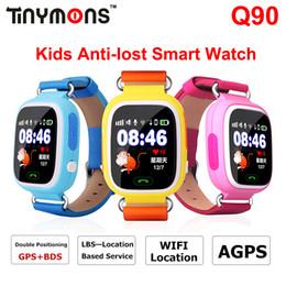Wholesale Watch Phone Touch Screen Wifi - GPS Q90 Smart Watch Anti Lost Location Tracker Wifi Kids Smartwatch SIM Phone Watches Anti-Lost SOS Touch Screen PK Q50 Q60 Q80