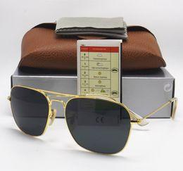 Orange rechteck online-Hochwertige Mode Rechteck Sonnenbrille Für Herren Brillen Sonnenbrillen Schwarz Metall 58mm 3136 Glaslinsen Braun Fällen Und Box