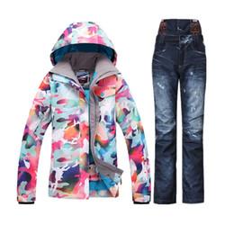 Wholesale Women Denim Suits - Wholesale- 2017 Winter Snowsuit Ski Suit Female Warm Waterproof Snowboard Jacket Denim Ski Pants Jeans veste de ski femme