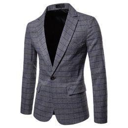 verifique o vestido de inverno Desconto Blazer Hombre 2018 Outono E Inverno Dos Homens Novos Terno Blazer Fino Moda Cinza Azul de Negócios Sociais Casual Check Vestido