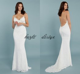 Wholesale Embroidery Pearls Mermaid Wedding Gown - Pretty Lace Mermaid Princeville Wedding Gown From Katie May 2018 Modest Spaghetti Backless Bohemian Country Bridal Wedding Dresses