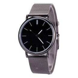 Wholesale Metal Clock Dials - Casual Women Men Lovers Watches Metal Mesh Band Clock Black Dial Fashion Quartz Wrist Watch Creative Jun21