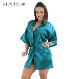 Bata de mujer kimono verde online-Drak Green mujeres chinas rayo de seda robe Mini ropa interior sexy kimono noche vestido pijama talla S M L XL XXL