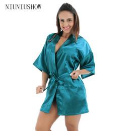 b3dab2ced7 Drak Green Chinese Women Silk Rayon Robe Mini Short Lingerie Sexy Kimono Night  Gown Sleepwear Pijama Size S M L XL XXL