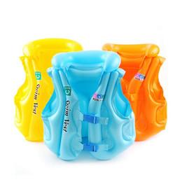 pvc vest Скидка 3 цвета безопасности детей толстые ПВХ надувные спасательный жилет купальник плавать жилет дети надувные спасательный жилет детские плавательный жилет одежда