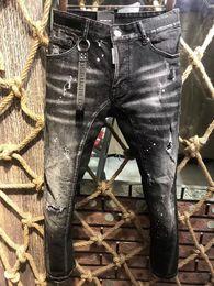 2019 italienische herren jeans Italienische marke herren luxus mode stich biker jeans zerrissen männer jeans loch berühmte marke slim fit herren gedruckt jeans biker denim hosen 1011 günstig italienische herren jeans