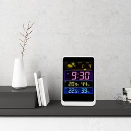 Estação meteorológica exterior sem fio on-line-Estação Meteorológica Sem Fio Colorido LCD Digital Termômetro Em / Ao Ar Livre Controlador de Temperatura Medidor de Umidade Despertador