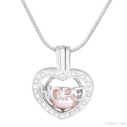 Conjuntos de oro 18k online-Inspirational Hope Shape 18k chapado en oro Pearl Cage colgantes DIY Oyster Pearl Necklace colgantes medallones de la joyería