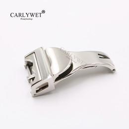 fivela de desdobramento em couro Desconto Carlywet 18mm de prata de aço inoxidável 316l banda de relógio de fivela de implantação fecho para menos de 2.5mm de borracha de couro cinta cinto