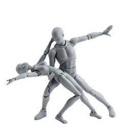 Wholesale Nude Toys - 6 Style 3d Nude Male Narrow Shoulder Muscle Body Figure Pale Gray Color Figma Shfiguarts Ferrite Pvc Action Figures Toy