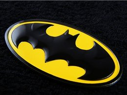 Wholesale Tank Stickers For Car - 2 pcs Chrome Metal Hero Batman Logo Emblem Decal Sticker Car Styling Fender Gas Tank Hood Decoration Badge Fit For Bmw Ford Car Accessories